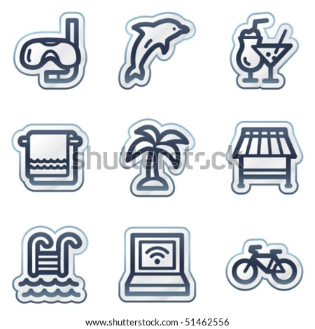 Vacation web icons, deep blue contour sticker series
