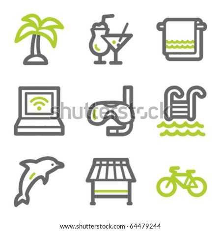 Vacation web icons, green and gray contour series