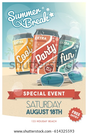 Vacations and summer party poster with fresh drinks, sunglasses and tropical beach on the background, entertainment and advertisement concept