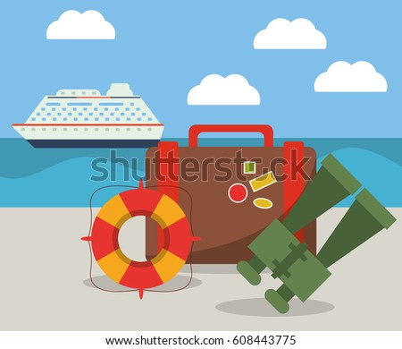 vacations ship suitcase binoculars and lifebuoy