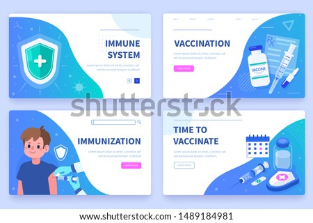 Vaccination and Child Immunization concept Banners Templates. Can use for Backgrounds, Infographics, Hero Images. Flat Cartoon Modern Vector Illustration.