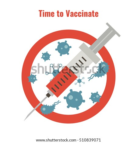 Vaccination and health concept. Illustration of a syringe and anti bacteria sign. Medical immunization.