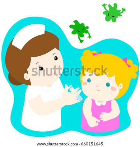 Vaccination child cartoon vector illustration. Nurse giving vaccination injection to cute little girl vector.