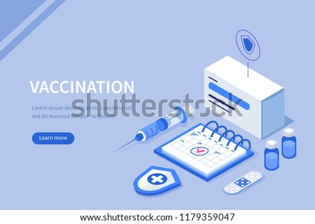 Vaccination concept. Can use for web banner, infographics, hero images. Flat isometric vector illustration.