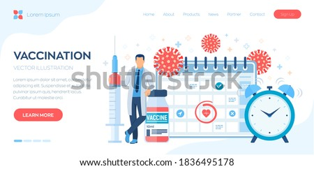Vaccination concept. Immunization campaign. Vaccine shot. Health care and protection. Doctor and syringe with a vaccine bottle protection shield and virus. Medical treatment. Flat vector illustration.