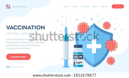 Vaccination concept. Immunization campaign. Vaccine shot. Health care and protection. Syringe with a vaccine bottle protection shield and virus. Medical treatment. Flat vector illustration.