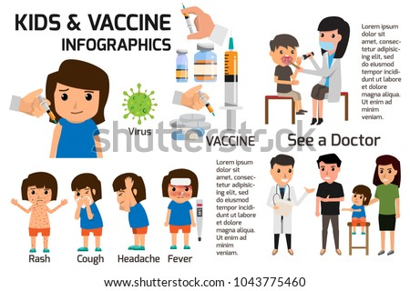 Vaccination concept infographics. Poster children or kids fever and flu or sick that have received vaccine. health care cartoon character vector illustration.