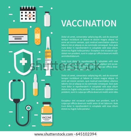 Vaccination concept poster with text place.  Flat style vector illustration.