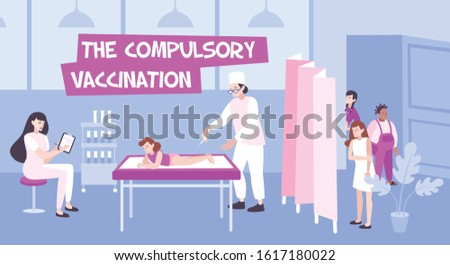 Vaccination flat composition with indoor scenery of clinics and doctors vaccinating children with queue and text vector illustration