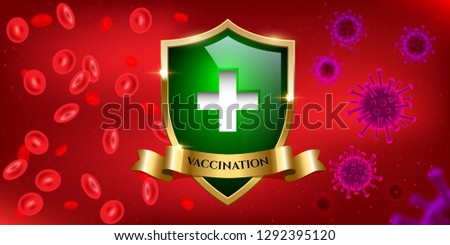Vaccination Horizontal Design Template Viruses And Blood Separated By Green Glass Shield With Golden Frame