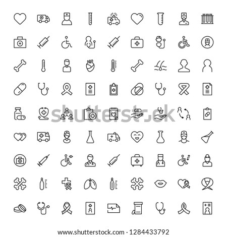 Vaccination icon set. Collection of vector symbols on white background for web design. Black outline sings for mobile application.