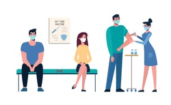 Vaccination of people against various diseases, including the coronavirus COVID19. Queue of people in medical masks for vaccination. A nurse administers a vaccine to a man. Injections Vector, cartoon
