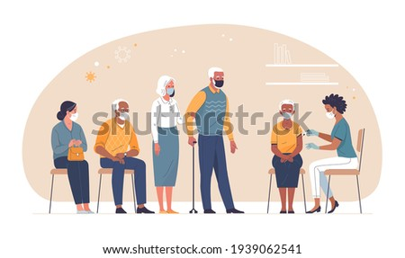Vaccination of the elderly against coronavirus. Vector illustration of an elderly african-american woman vaccinated by a black doctor and a queue of multiethnic people waiting. Isolated on background
