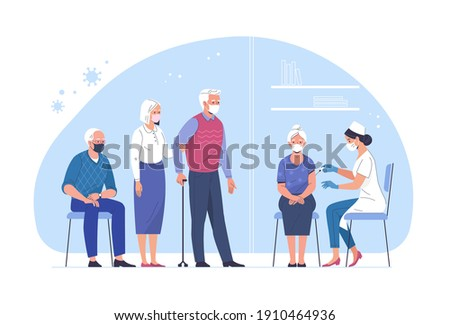 Vaccination of the elderly against coronavirus. Vector illustration of an elderly woman vaccinated by a doctor and a queue of people waiting. Isolated on background