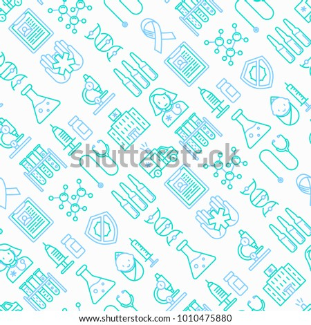 Vaccination seamless pattern with thin line icons: vaccine, syringe, ampoule, vial, microscope, virus, DNA, hospital, ambulance. Vector illustration.