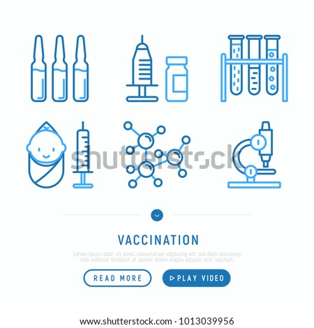 Vaccination thin line icons set: vaccine in syringe, ampoule, vial, microscope, virus, baby. Vector illustration, web page template.