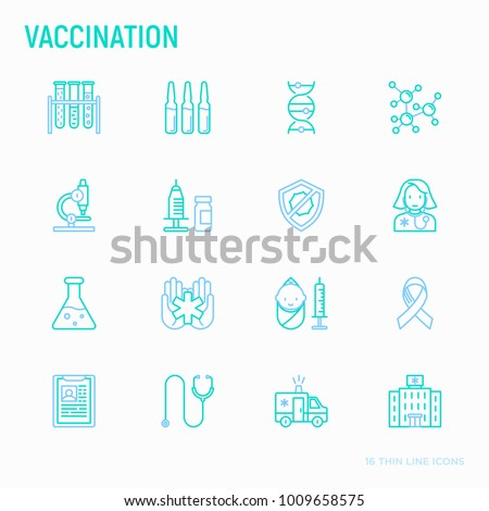 Vaccination thin line icons set: vaccine, syringe, ampoule, vial, microscope, virus, DNA, hospital, ambulance. Modern vector illustration.