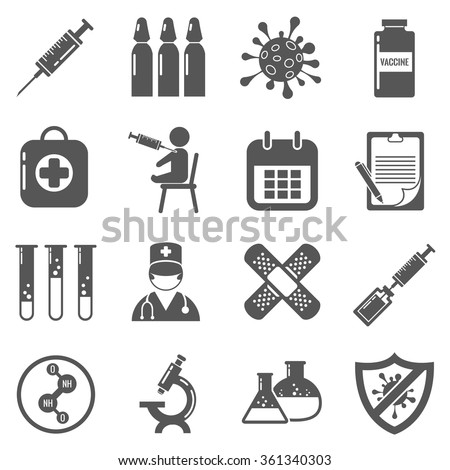 Vaccinations vector black icons set. Vaccine in syringe, medical plaster, health care, pharmacy aid, doctor illustration