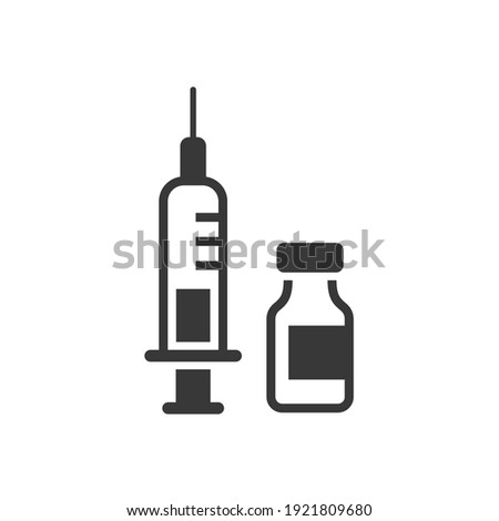 Vaccine and syringe icon. Vector illustration isolated on white.