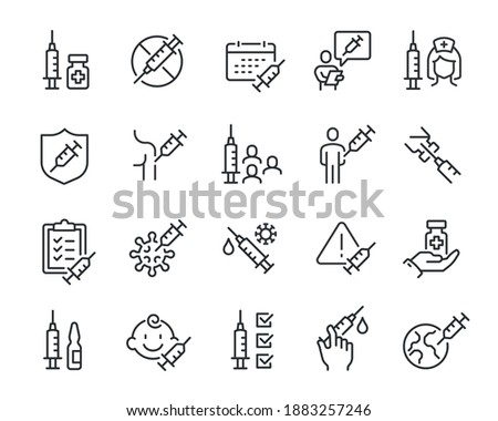 Vaccine and Vaccination Icons Set. Collection of simple linear web icons such as Vaccination of People, No Vaccination, Vaccination in the Shoulder, Vaccine for Children, Vaccine Against Virus.