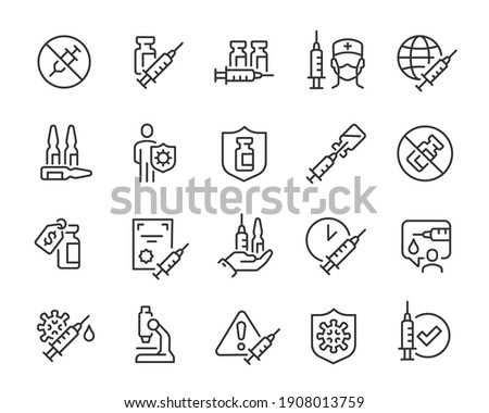 Vaccine Icon Set. Collection of simple linear web icons such as Vaccine Cost, Vaccination of People, No Vaccine, Syringes and Ampoules, Certificate for Vaccine and others Editable vector stroke.