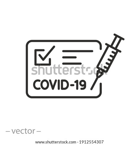 vaccine passport icon, vaccination certificate against covid-19 with check mark, medical card or passport for travel in time pandemic, thin line symbol on white background - editable stroke vector