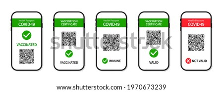 Vaccine passport in smartphone screen. Certificate of vaccine and immune from covid in phone app. Health passport on digital screen with qr code for control and check of safety from covid-19. Vector.