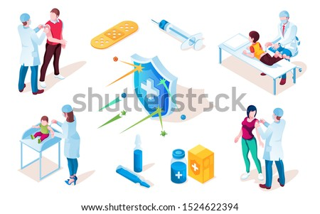 Vaccine poster with syringe and tablet, pills and shield with cross. Kid or child vaccination from flu or polio, influenza disease. Ill prevention and people checkup, injection. Vaccinate, healthcare