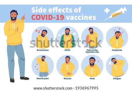 Vaccine side effects concept vector infographic. Covid vaccination effects, fever, nausea, headache, pain.