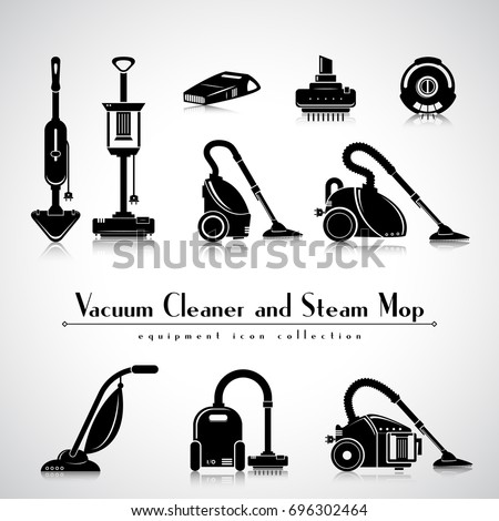 Vacuum cleaner and Steam mop icons collection. Cleaning appliance. Detailed black vector isolated symbol set.