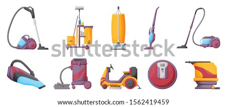 Vacuum cleaner cartoon vector illustration on white background . Set icon vacuum cleaner for cleaning .Cartoon vector icon for cleaning carpet. Stockfoto ©