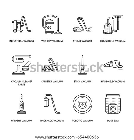 Vacuum cleaners colored flat line icons. Different types - industrial, household, handheld, robotic, canister, wet dry. Thin linear signs for housework equipment shop.