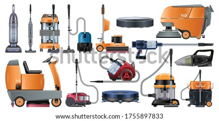Vacuum cleaners realistic set icon. Vector illustration cleaning hoover on white background. Vector realistic set icon vacuum cleaners .