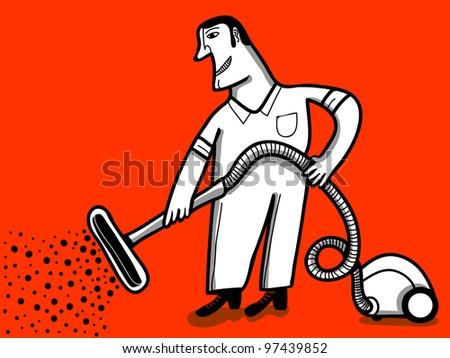 vacuum clener worker red background - stock vector