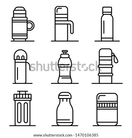 Vacuum insulated water bottle icons set. Outline set of vacuum insulated water bottle vector icons for web design isolated on white background