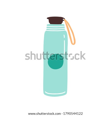 Vacuum thermo tumbler flask with cap and handle vector flat illustration. Durable and reusable bottle for water isolated on white. Eco friendly and go green style thermos with design elements
