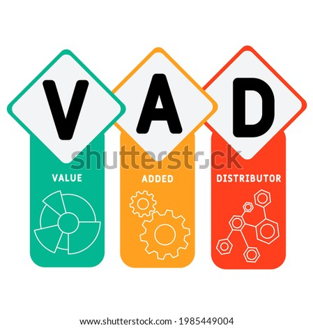 VAD - Value Added Distributor acronym. business concept background.  vector illustration concept with keywords and icons. lettering illustration with icons for web banner, flyer, landing pag Stock fotó ©