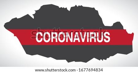 Vale of Glamorgan WALES UK principal area map with Coronavirus warning illustration