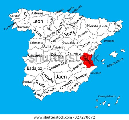 valencia map  spain province