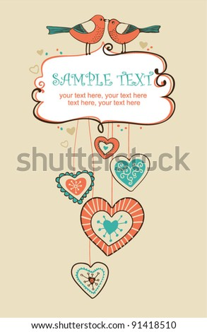 Valentin`s Day card with birds - invitation for party or wedding