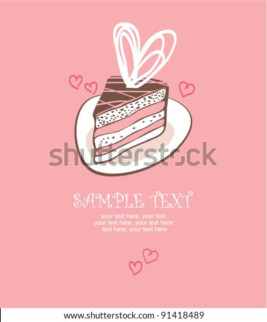 valentin s day card with cake