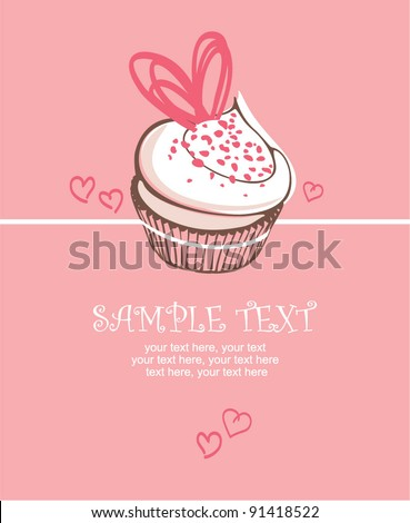 Valentin`s Day card with cupcake