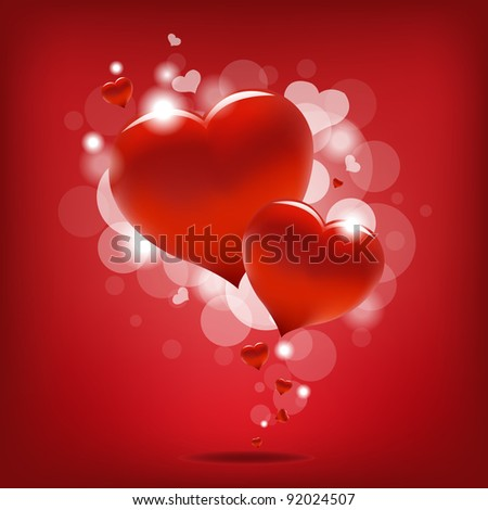 Valentin`s Day Card With Hearts, Vector Illustration