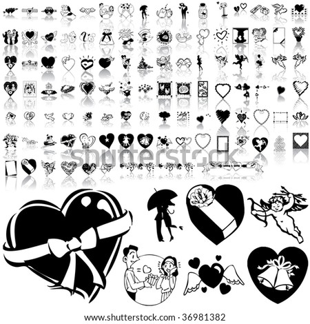 Valentinday set of black sketch. Part 1. Isolated groups and layers.