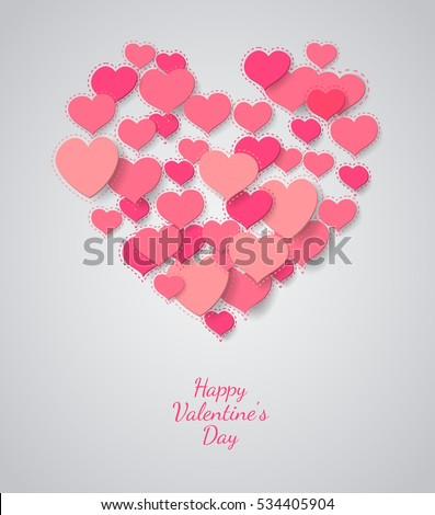 Valentine background. heart symbol on light background
