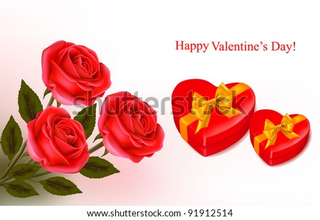 Valentine background. Red roses and two  gift boxes in the shape of heart. Vector illustration.