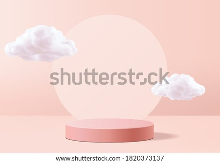 Valentine background vector 3d pink rendering with podium and cloud white scene, cloud 3d minimal background 3d rendering valentine love pink pastel podium. Stage pink on cloud render background