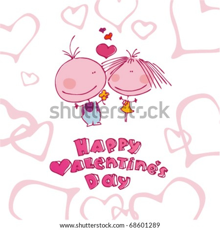 Valentine background with funny couple in love.