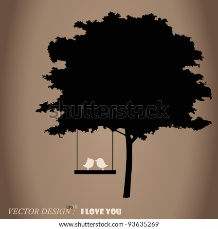 Valentine background with tree and bird. Vector Illustration.