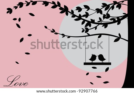 Valentine background with tree, bird and sunset. Valentine's Day. Vector Illustration.